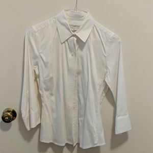 3/4 sleeve fitted white shirt